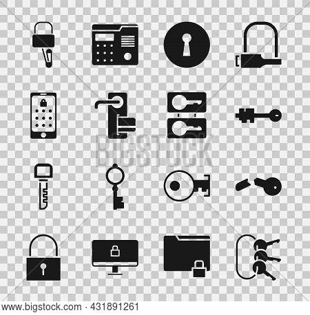 Set Bunch Of Keys, Broken, Old, Keyhole, Digital Door Lock, Mobile And Graphic Password, Lock Picks