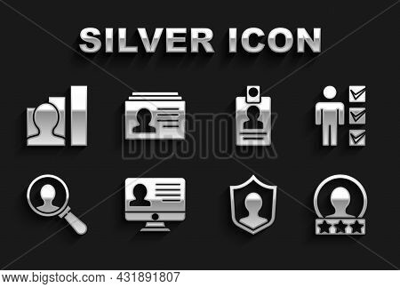 Set Monitor With Resume, User Of Man In Business Suit, Create Account Screen, Protection, Magnifying