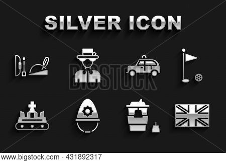 Set British Police Helmet, Golf Flag, Flag Of Great Britain, Coffee Cup To Go, Crown, Taxi Car, Robi