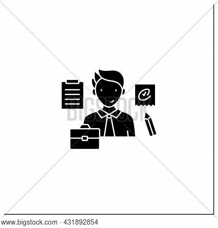 Written Communication Glyph Icon. Conveying Messages Through Written Symbols. Documentary. Writing F