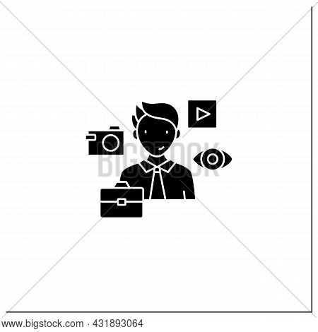 Visual Communication Glyph Icon.communicate Using Signs, Typography, Drawing, Video Clip, Advertisin