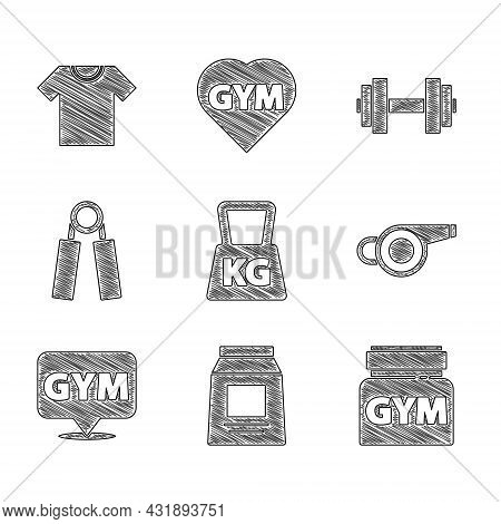 Set Weight, Sports Nutrition, Whistle, Location Gym, Expander, Dumbbell And T-shirt Icon. Vector