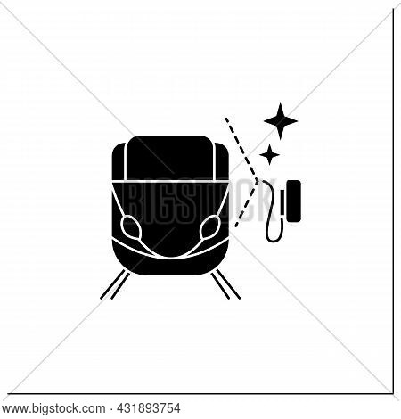Train Cleaning Glyph Icon.railroad Carriage Disinfection.hygiene, Corona Virus And Infections Spread