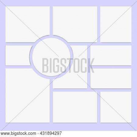 Realistic Collage. Photo Frame Template. Photo Gallery Layout. Vector Illustration