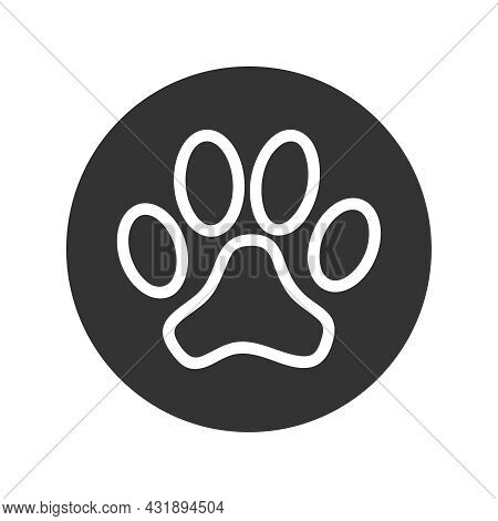 Paw Print Of Animal Graphic Icon.  Paw In The Circle Sign Isolated On White Background. Vector Illus