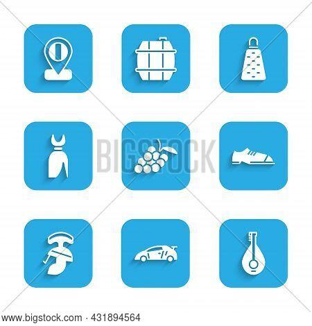 Set Grape Fruit, Sport Racing Car, Mandolin, Men Shoes, Roman Army Helmet, Woman Dress, Grater And L