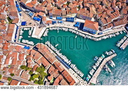 Town Of Cres Harbor And Historic Center Aerial View, Island Of Cres, Kvarner Region Of Croatia