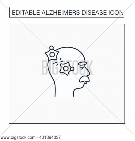 Alzheimer Disease Line Icon.loss Connection Between Nerve Cells.memory Loss, Language Problems, Impu