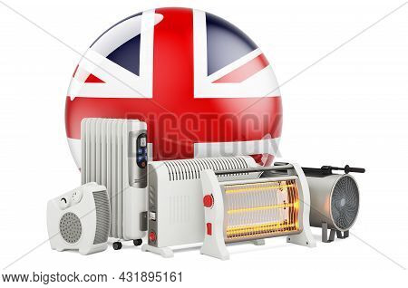 British Flag With Heating Devices. Manufacturing, Trading And Service Of Convection, Fan, Oil-filled
