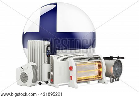 Finnish Flag With Heating Devices. Manufacturing, Trading And Service Of Convection, Fan, Oil-filled
