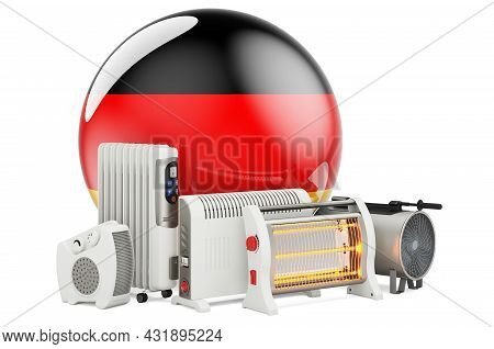 German Flag With Heating Devices. Manufacturing, Trading And Service Of Convection, Fan, Oil-filled,
