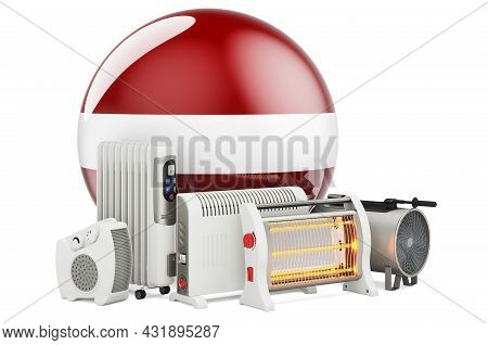 Latvian Flag With Heating Devices. Manufacturing, Trading And Service Of Convection, Fan, Oil-filled