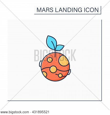 Life On Mars Color Icon. Finding Life On Planets. Favorable Living Conditions.mars Landing Concept.