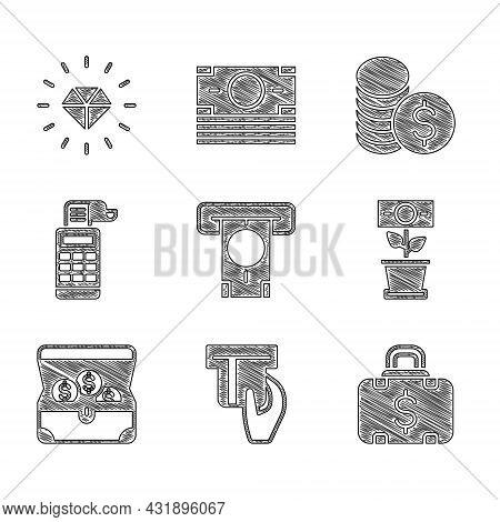 Set Atm And Money, Credit Card Inserted, Briefcase, Money Plant The Pot, Treasure Chest, Cash Regist