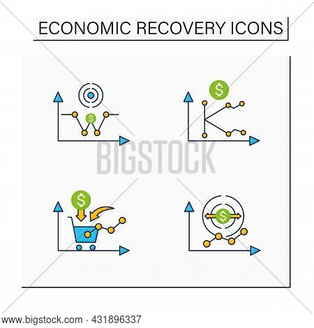 Economic Recovery Color Icons Set. Economy Expansion, Growth Consumer Demand, K, W Shaped Recovery.