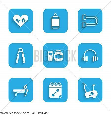 Set Sports Nutrition, Calendar Fitness, Stationary Bicycle, Headphones, Bench With Barbel, Expander,