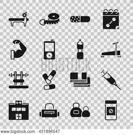 Set Anabolic Drugs, Doping Syringe, Treadmill Machine, Vitamin Pill, Music Player, Bodybuilder Muscl