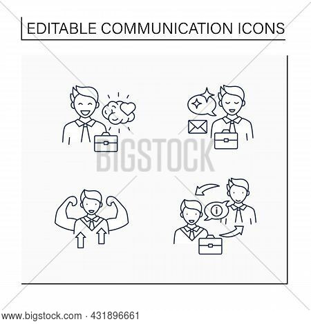Effective Communication Line Icons Set. Emotional Intelligence, Self Confidence, Clear Message, Exch
