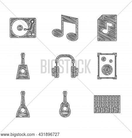 Set Headphones, Guitar, Grand Piano, Stereo Speaker, Balalaika, Music Book With Note And Vinyl Playe