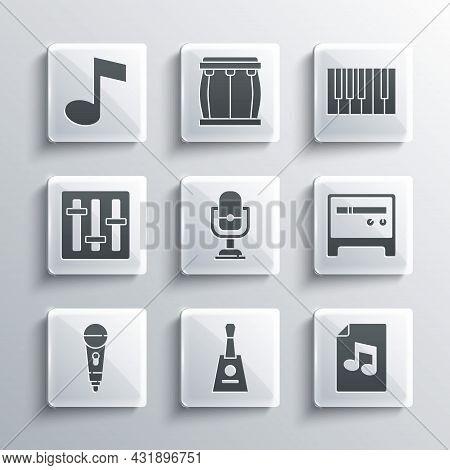 Set Balalaika, Music Book With Note, Guitar Amplifier, Microphone, Sound Mixer Controller, Tone And