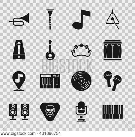Set Grand Piano, Maracas, Drum, Music Note, Tone, Banjo, Metronome With Pendulum, Trumpet And Tambou