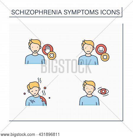 Schizophrenia Symptoms Color Icons Set. Poor Care, Flat, Expressionless Gaze, Emotional Expression,