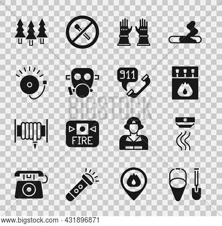 Set Fire Shovel And Bucket, Smoke Alarm System, Matchbox Matches, Firefighter Gloves, Gas Mask, Ring