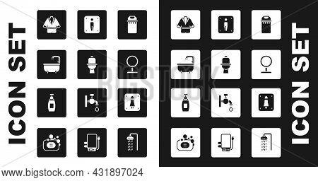 Set Trash Can, Toilet Bowl, Bathtub, Bathrobe, Round Makeup Mirror, Male Toilet, Female And Bottle O