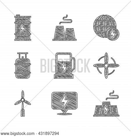 Set Electric Car Charging Station, Lightning Bolt, Power Plant Factory, Wind Turbine, Propane Gas Ta
