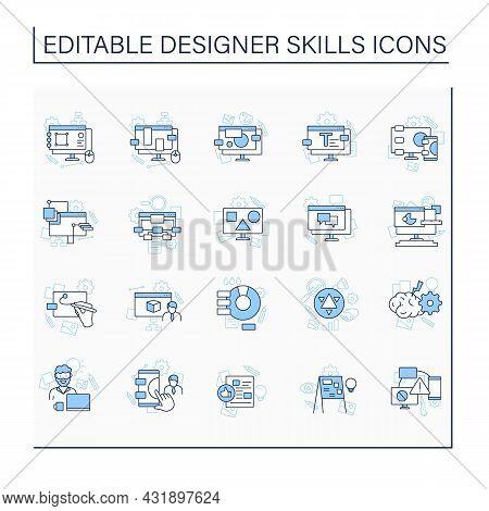 Designer Skills Line Icons Set. Create New Projects, Exchange, Generate Ideas.interface Design, Opti