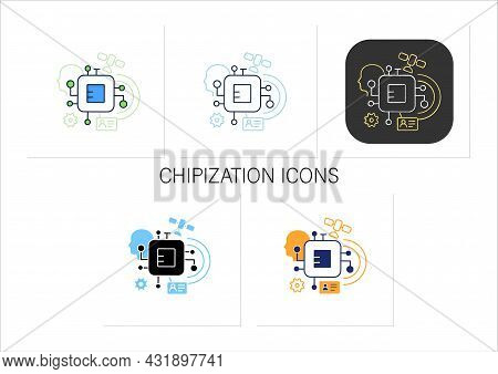 Chipization Icons Set. Embedded In Persons Body. Small Information Disk.digital Transformation Conce
