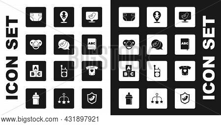 Set Baby, Dummy Pacifier, Absorbent Diaper, Abc Book, Clothes And Blocks Icon. Vector