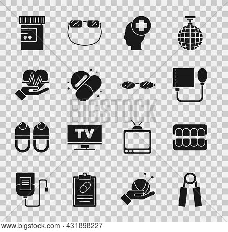 Set Sport Expander, False Jaw, Blood Pressure, Male Head With Hospital, Medicine Pill Tablet, Heart