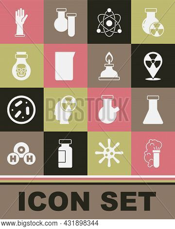Set Chemical Explosion, Test Tube And Flask, Radioactive In Location, Atom, Laboratory Glassware Or