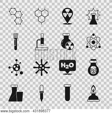 Set Alcohol Or Spirit Burner, Poison In Bottle, Atom, Radioactive Location, Microscope, Test Tube An