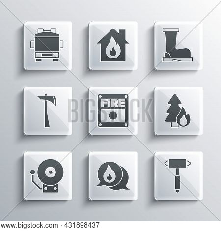 Set Telephone Call 911, Firefighter Axe, Burning Forest Tree, Alarm System, Ringing Bell, Truck And