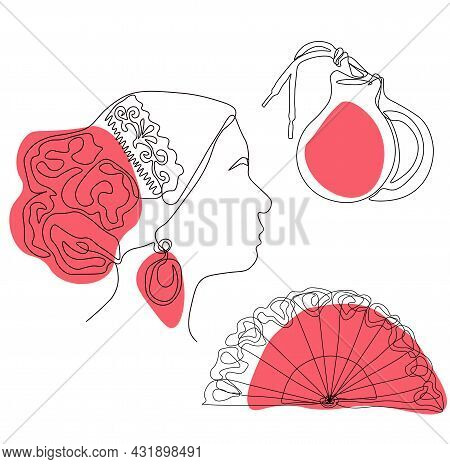 Set Of Flamenco Icons Vector Stock Illustration. Castanets, Shoes, Vane. Spanish Traditional Music.