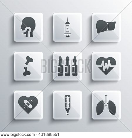 Set Medical Thermometer, Lungs, Heart Rate, Vial, Ampoule, Healed Broken Heart, Human Bone, Sore Thr