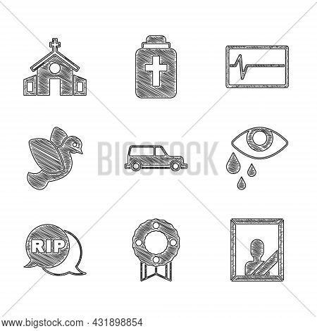 Set Hearse Car, Memorial Wreath, Mourning Photo Frame, Tear Cry Eye, Speech Bubble Rip Death, Dove,