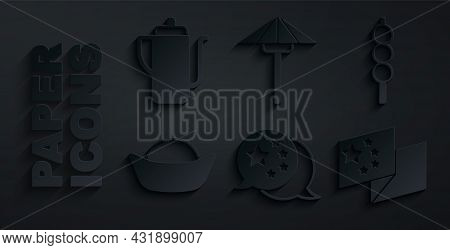 Set China Flag, Meatballs On Wooden Stick, Sushi, Japanese Umbrella From The Sun And Chinese Tea Cer