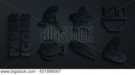 Set Fish Steak, Shark Fin Soup, Mussel, Starfish And Served On Plate Icon. Vector