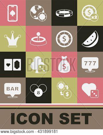 Set Game Dice, Slot Machine With Jackpot, Casino Slot Watermelon, Chips, Roulette Wheel, Joker Playi