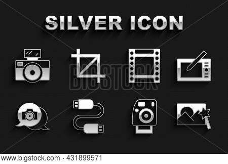 Set Usb Cable Cord, Graphic Tablet, Photo Retouching, Camera, Camera Roll Cartridge, With Flash And