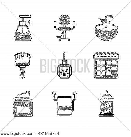 Set Dustpan, Towel On Hanger, Barber Shop Pole, Calendar With Haircut Day, Cream Cosmetic Jar, Shavi