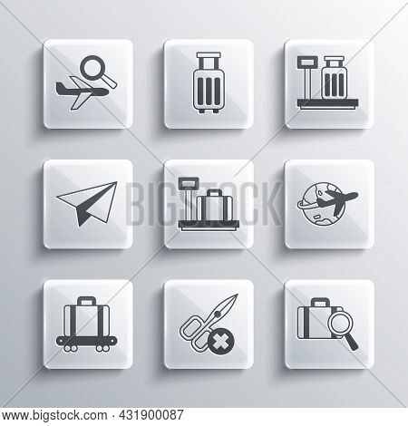 Set No Scissors, Lost Baggage, Globe With Flying Plane, Scale Suitcase, Conveyor Belt, Paper Airplan