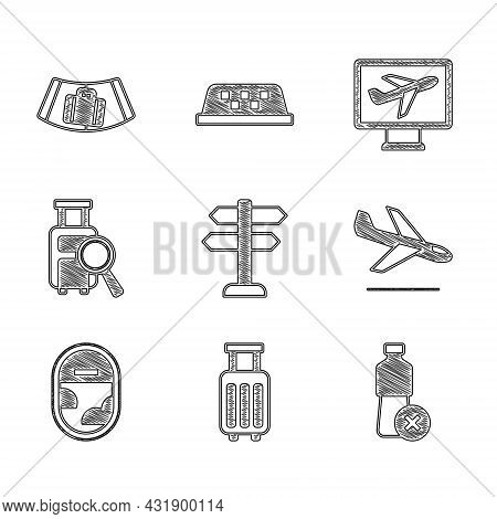Set Road Traffic Sign, Suitcase, No Water Bottle, Plane Landing, Airplane Window, Lost Baggage, And