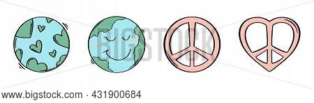 Day Of Peace. Hand Drawn Earth And Peace Symbol. Heart Shape With Earth. Sketch Style