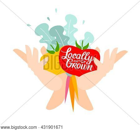 Locally Grown. Vector Illustration For Locavore Food. Organic Vegetables With Lettering With Handwri
