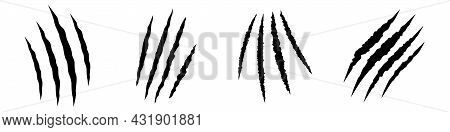 Animal Claws Scratches Icons Set. Collection Of Scratched Claws.
