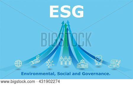 Esg,environmental, Social, And Governance Image,icon And Rising Arrow,blue Background